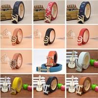 dulces clásicos al por mayor-Niños Cinturones de diseño Moda para niños Clásico Aguja Hebilla Cintura Lichee Patrón Brillante Piel Colores del caramelo Diseñador Adolescente Cinturones elegantes