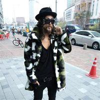 erkek modası sahte deri ceket toptan satış-Yeni moda erkekler Faux kürk ceket Kamuflaj sıcak tavşan sıcak ceket mens kış deri ceketler Yaka