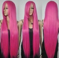 Wholesale hot pink long wigs - New Extra Long Straight Rapunzel Tangled Hot Pink Bangs Cosplay Hair Wigs
