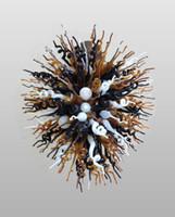 adornos de ámbar al por mayor-Negro ámbar blanco colgante maravilloso de China lámparas de Murano Arte Iluminación pendiente moderna del ornamento de la lámpara de cristal soplada