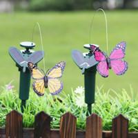ingrosso farfalle decorazioni da giardino-Energia solare Ballando Luci volanti Farfalle Design Hummingbird Birds Garden Yard Decorations Lampada Kids Fun Toys 9ll ZZ