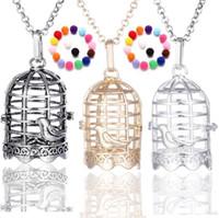 Wholesale locket online - Disffuser Necklace birdcage cone pearl accessories Locket Essential Oil Diffuser Necklaces Hollow out Locket Cage Pendant Necklace