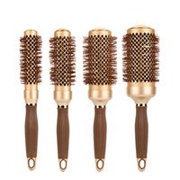 Wholesale nano ceramic hair for sale - Gold Hair Salon Nano Ceramic Curly Hair Round Brush Aluminum Radial Hair Ionic Comb In Sizes Professional Salon Brushes
