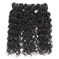 Wholesale brazilian virgin hair bundle pack resale online - Brazilian Virgin Hair Natural Wave Pack of Cheap Wavy Human Hair Bundles for Natural Black Color