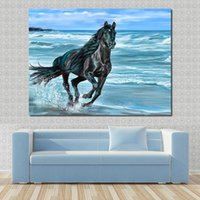 Wholesale Oil Painting Landscapes Dark - Running The Dark Horse Paintings For Living Room Wall Paintings On Canvas Oil Painting Wall Pictures No Frame