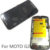 touchscreen für moto g2 großhandel-Super G2 AMOLED LCD Display 100% Getestet Arbeiten Touchscreen + Rahmen Montage Für Moto G2 DHL logistik