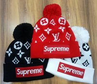 Wholesale beanie white letters - Hight quality men women autumn winter sup beanie casual knitted sports cap ski gorro black white red skull caps