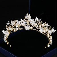 Wholesale butterfly wedding hair tiaras resale online - Butterfly Flower Crystal Crown Tiara gold Baroque crown wedding accessories accessories European and American brides crown