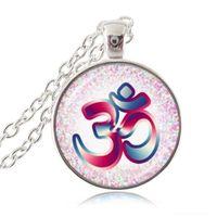 ohm colar venda por atacado-Om Aum Ohm Buda Colar Namaste Pingente Ioga Jóias Símbolo Hinduísmo Pingente de Meditação Hindu Camisola Colar para Mulheres Homens Acessórios
