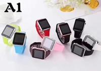 armband handy großhandel-A1 smart watch bluetooth uhren niedrigen preis tragbare männer frauen smart armband handy mit kamera für android ios telefon 8 farben
