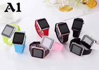 цена мобильного телефона оптовых-A1 smartwatch смарт-часы низкая цена Bluetooth носимых Мужчины Женщины смарт-часы мобильный телефон с камерой для Android ios телефон AA качество