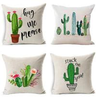 fashion decor pillows wholesale 2018 - DHL Fashion Africa Tropical Plant linen Cushion Covers Cactus Pillowcase Seat Decor Car Chair Office Sofa Pillow Covers 44*44cm