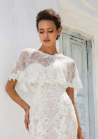 ingrosso giacca abaya-2018 applique Wedding Jacket Wraps For Bride Collo alto da sposa Cape Ricamo pizzo Mantello Giacca da sposa Bolero Shrug Dubai Abaya