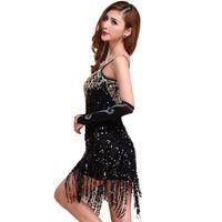 Wholesale sequin fringe dance dress - Wholesale-New Sexy Lady Latin Ballroom Salsa Dance Sequin Fringe Dress