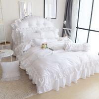 Wholesale White Queen Bedding Ruffle - Wholesale-Pure White Color Wedding Bedding Set King Queen Size 4pcs Princess Girls Quilt Duvet cover Bed Skirt Pillowcases 100% Cotton