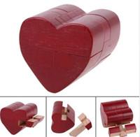 kong ming puzzle al por mayor-Corazón rojo Kong Ming Luban Lock Tradicional de madera Desarrollo intelectual Puzzle Toy IQ Brain Teaser Kids regalo educativo del juguete