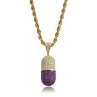 новые таблетки оптовых-Новый хип-хоп красочный таблетки в форме бутылки ожерелье может открыть капсулы кулон кубический циркон ожерелье со льдом съемный унисекс