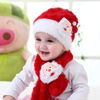 Wholesale baby winter suit cute for sale - Group buy Christmas hats scarf set plush Santa cap Christmas decoration baby boys girls cute knit hat scarves suit
