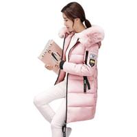 pembe kore ceket toptan satış-Kadın Kış Parka 2018 Kadın Faux Kürk Kapşonlu Palto Kızlar Askeri Pembe Dış Giyim Parka Giysileri Bayanlar Kore Ince Puffer Ceketler S18101505