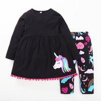 Wholesale little girl pants outfit - Girls Black unicorn Dresses+Pants Outfits Spring 2018 Kids Boutique Clothing Euro America INS Little Girls Cotton Cartoon Dresses 2 PC Set