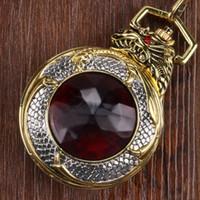 e1e1f8f743c Relógios de bolso FOB Assista Pingente de Quartzo Relógio de Jóia do Dragão  Mau de Luxo Caso de Ouro Red Garnet Inset Dial Completa Caçador Homens Lady  Novo