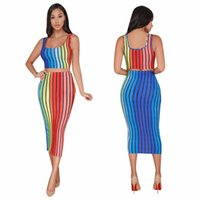 Wholesale ladies dress skirt suits - Hot selling ladies striped tracksuit set hollow sexy party track suit set 2 piece women crop top and skirt set
