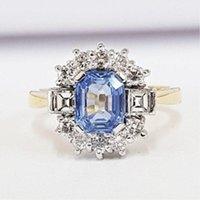 ingrosso anelli di diamanti blu chiaro-Cluster di diamanti blu zaffiro pallido cielo chiaro Anello di fidanzamento pavé in oro 18 ct Vintage Taglia 5-12