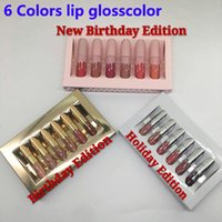 Wholesale gloss set - Gold lip gloss 6 colors Birthday Limited Edition Holiday Matte Lipstick Valentine Lip gloss Mini Kit Lip Cosmetics 6 Colors set makeup