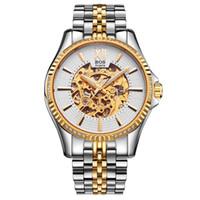 автоматический скелет часы мужчины оптовых-ANGELA BOS Top  Waterproof Wrist Watch Business Watch Men Mechanical Automatic Stainless Steel Skeleton Mens Watches