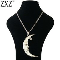 старинная длинная цепь оптовых-ZXZ Large Antique Silver Statement Abstract Crescent Moon and Star Pendant on Long Curb Chain Necklace Lagenlook 34