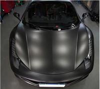 vinilo mate adhesivo al por mayor-Vinilo plano negro mate Vinyl Car Wrap etiqueta adhesiva Wrap Vehicle Decal Air Free