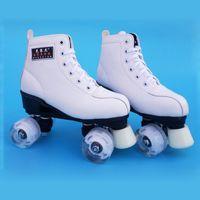 роликовые коньки оптовых-New Kids Adult Double Roller Skates Figure SkatingTwo Line Roller Skate Female Patins Adulto PU wheels or Flashing Wheel IB24
