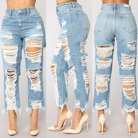 88a66f61ab1 Big Hole Ripped Jeans Women Harem Pants Loose Ankle-Length Denim Pants  Boyfriends For Woman Exaggerated Beggar Trousers Ladies