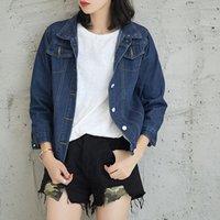 xxl roupa coreana venda por atacado-Jaqueta jeans feminino primavera outono 2018 nova chegada Coreano solto manga longa denim clothing plus size XXL mulheres casacos 9038