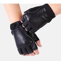 кожанные кожаные перчатки оптовых-Hot Seller New 2018 Men's Genuine Leather Gloves Driving Goatskin Half Finger Gloves Fingerless Gym Fitness Free Shipping