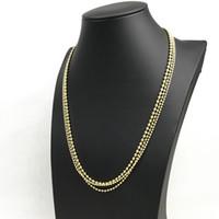 metallkugelkettenketten großhandel-Perlenketten Halskette Gold Silber Ton Metallkugel Mode Link Halskette Kette Für Männer Frauen Charme Schmuck Machen YS57