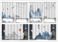 Wholesale ink paintings for sale - Group buy High grade ink wash painting shower curtain Waterproof mouldproof landscape painting the bath curtain cm shower room decorate