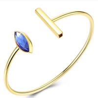 frauen gold armbänder blau großhandel-Luxus schmuck s925 sterling silber blau kristall armbänder manschette gold armband für frauen heiße mode