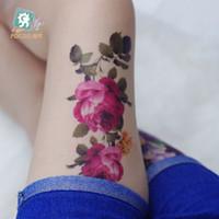 ingrosso peonies tattoo-Rocooart QC683 Long HD trucco delle donne tatuajes tattoo maniche Body Art Rose Peony fiore Flash Temporaneo Tatoos Sticker tatuagem