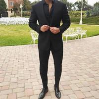 slim costume noir ajusté achat en gros de-Noir Nouvelle Marque Homme Vêtements Hommes Slim Fit Hommes Costumes D'affaires Costume Formel avec Pantalon Tuxedo Mariée Mariage Costumes pour