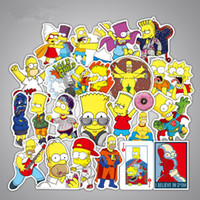 Wholesale laptop mix - 50pcs Set Anime Cartoon Simpson Mixed Stickers For Laptop Sticker Decal Fridge Skateboard PVC Stickers For Travel Suitcas