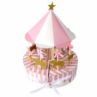 caixas de decoração casamento venda por atacado-OurWarm Carrossel Caixa De Presente De Papel Favores Do Casamento e Presentes Unicorn Partido Baby Shower Caixa De Doces Decorações Da Festa De Aniversário Para Crianças