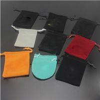 sacs-cadeaux de marque achat en gros de-Luxe marque bijoux cadeau sacs de velours sacs pour femmes hommes en acier inoxydable Bracelet Bracelet anneaux collier bijoux