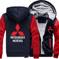 Wholesale motors mitsubishi resale online - winter Car Mitsubishi Logo motors Men women Warm Fleet Hoodies autumn clothes sweatshirts Zipper jacket fleece hoodie USA EU plus size