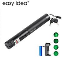 lazerli piller toptan satış-Yeni Lazer Pointer 303 Yeşil Lazer Pointer Kalem 532nm Ayarlanabilir Odak Pil Ve Pil Şarj AB ABD VC081 0.5 W SYSR