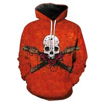 гитара красный оптовых-Cloudstyle 2018 New Fall 3D Hoodies Men Women Skull Print Rose Guitar Pullovers Harajuku Thin Streetwear Male Red Hooded Loose