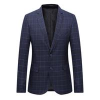 mens business casual suit ceket toptan satış-Erkek Blazer Takım Elbise Ceket Moda Adam Ekose Blazer Stil Casual Tek Düğme İş elbise Blazers Erkekler Slim Fit Izgara Takımları Mont