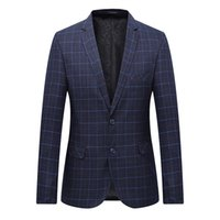 blazers uniques achat en gros de-Hommes Blazer Costume Veste De Mode Homme À Carreaux Style Blazer Casual Unique Bouton De La Robe D'affaires Blazers Hommes Slim Fit Grille Costumes Manteaux