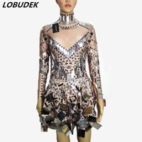 591f97184a2cc Silver Sequins miroirs étincelants robe sexy Nightclub Bar DJ DS costumes  chanteuse Leading Party performance une pièce robe