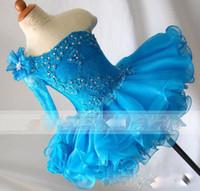 un vestido de manga larga vestidos al por mayor-Lindo azul de un hombro chicas vestidos de desfile de encaje apliques con cuentas mangas largas vestidos de niñas vestidos de fiesta para el niño
